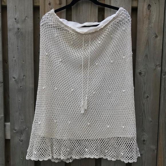 Vintage Dresses & Skirts - VINTAGE TAN BEIGE CHROCET SUMMER SKIRT 100% COTTON